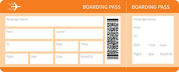 yellow boarding pass Airplane ticket blank space. yellow boarding pass coupon isolated on white background. Vector illustration airplane ticket stock illustrations