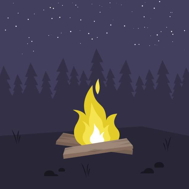 Yellow bonfire in the night forest. No people. Copy space / flat editable vector illustration, clip art vector art illustration