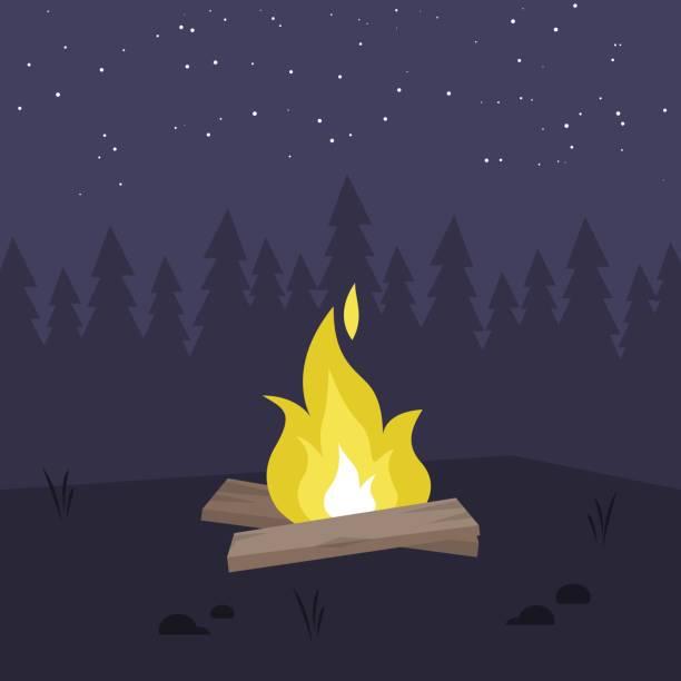 illustrazioni stock, clip art, cartoni animati e icone di tendenza di yellow bonfire in the night forest. no people. copy space / flat editable vector illustration, clip art - falò