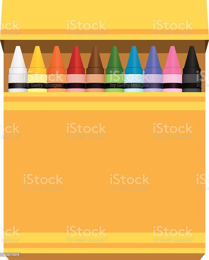 yellow box of rainbow colored crayons vector art illustration