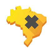 Yellow Brazil map with an irritating substance sign