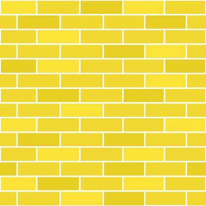 Yellow brick seamless pattern background.