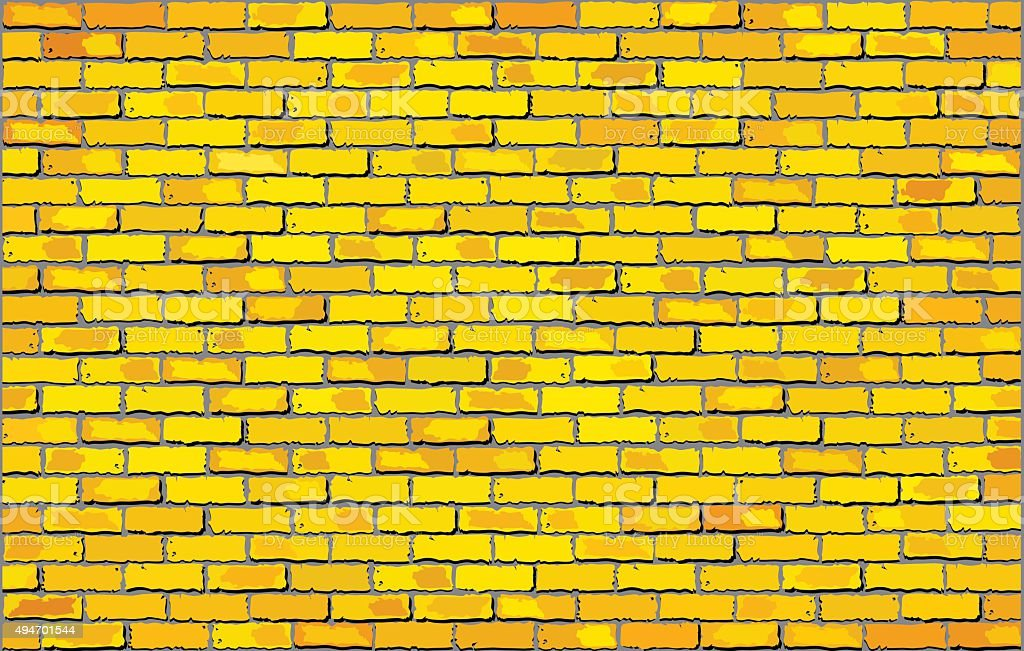 Yellow brick wall vector art illustration