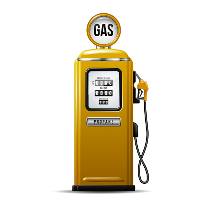 Yellow bright Gas station pump for liquid propane. Realistic Vector illustration isolated on white.