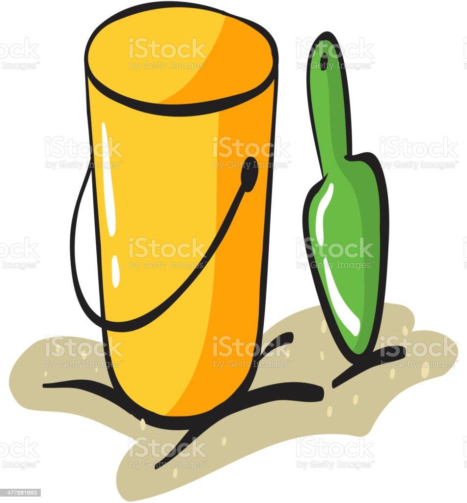 Yellow bucket and scraper royalty-free stock vector art