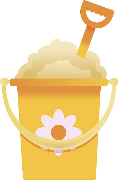 Yellow bucket and spade on white background vector art illustration