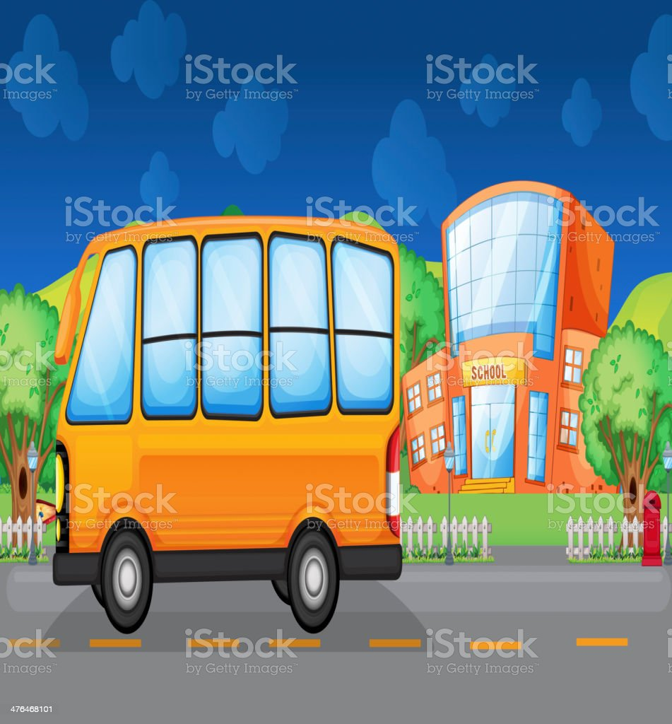 Yellow bus along the street royalty-free yellow bus along the street stock vector art & more images of blue