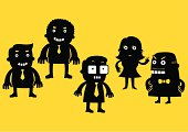 5 business and corporate characters designed in simple black and yellow graphic style.