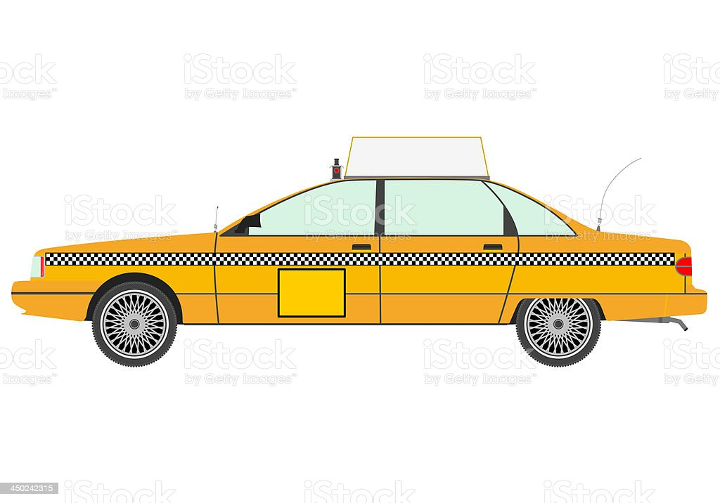 Yellow cab silhouette. vector art illustration