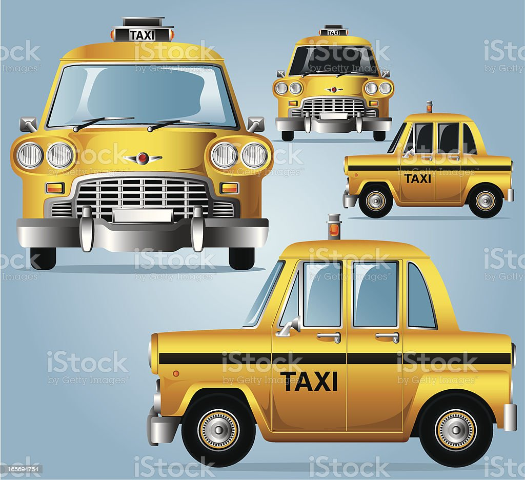 Yellow Cab vector art illustration