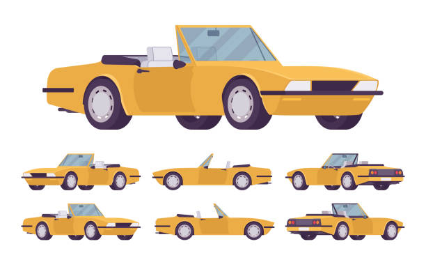 Yellow cabriolet car set Yellow cabriolet car set. Roadsters passenger vehicle with a roof folds down, convertible top, two seats, luxury design city auto to enjoy a travel and journey. Vector flat style cartoon illustration convertible stock illustrations