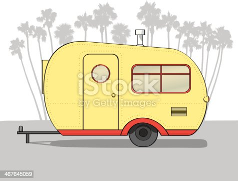 Side view of a small, older-style camper trailer. Yellow with red trim. Palm tree silhouetted in background. 6 layers in file.