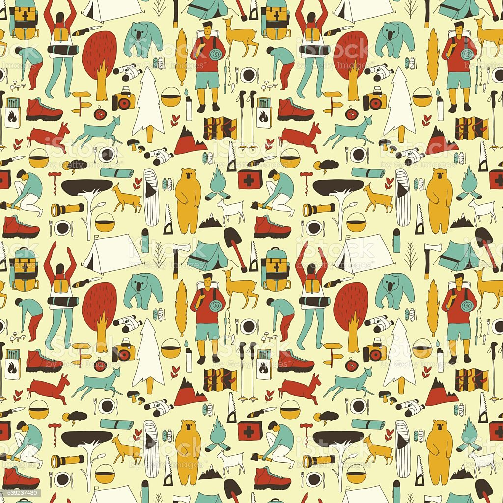 yellow camping pattern royalty-free yellow camping pattern stock vector art & more images of activity