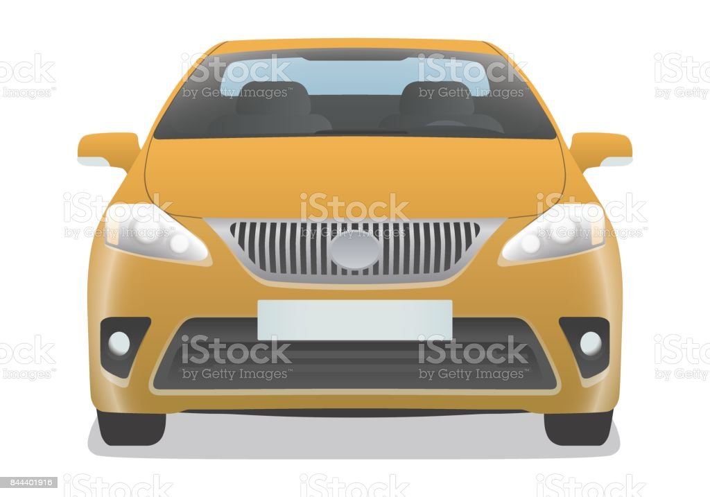 yellow car front view vector art illustration