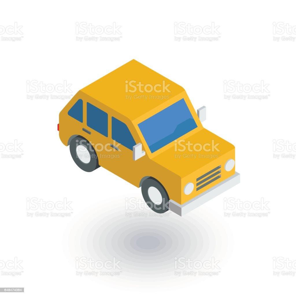 voiture jaune, icône plate isométrique de berline avec hayon arrière. vecteur 3D - Illustration vectorielle