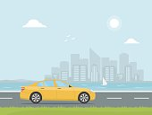 Yellow car rides on a highway on the background of skyscrapers. Banner concept design road trip. Travel by car. Vector illustration in flat style.