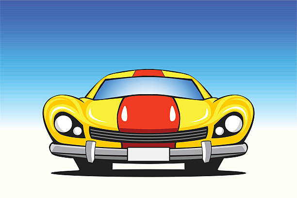 yellow car with a red strip vector art illustration