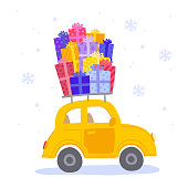Yellow car with gifts on the roof. Vector illustration.