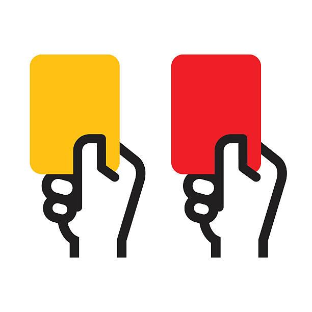 Yellow Card and Red Card Yellow Card and Red Card punishment stock illustrations