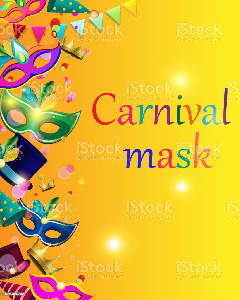 yellow carnival background with color masks and confetti stock