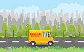 Product goods shipping transport. Fast express truck. Vector illustration.