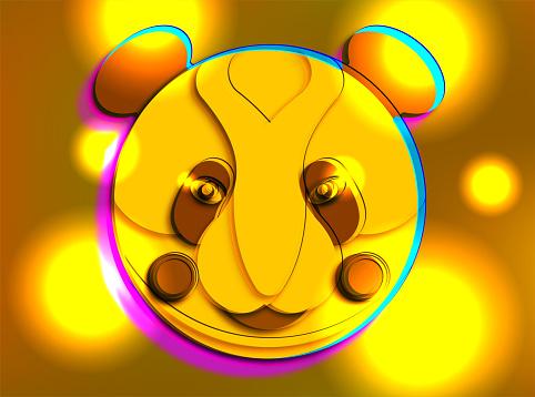 yellow cartoon panda portrait with light background