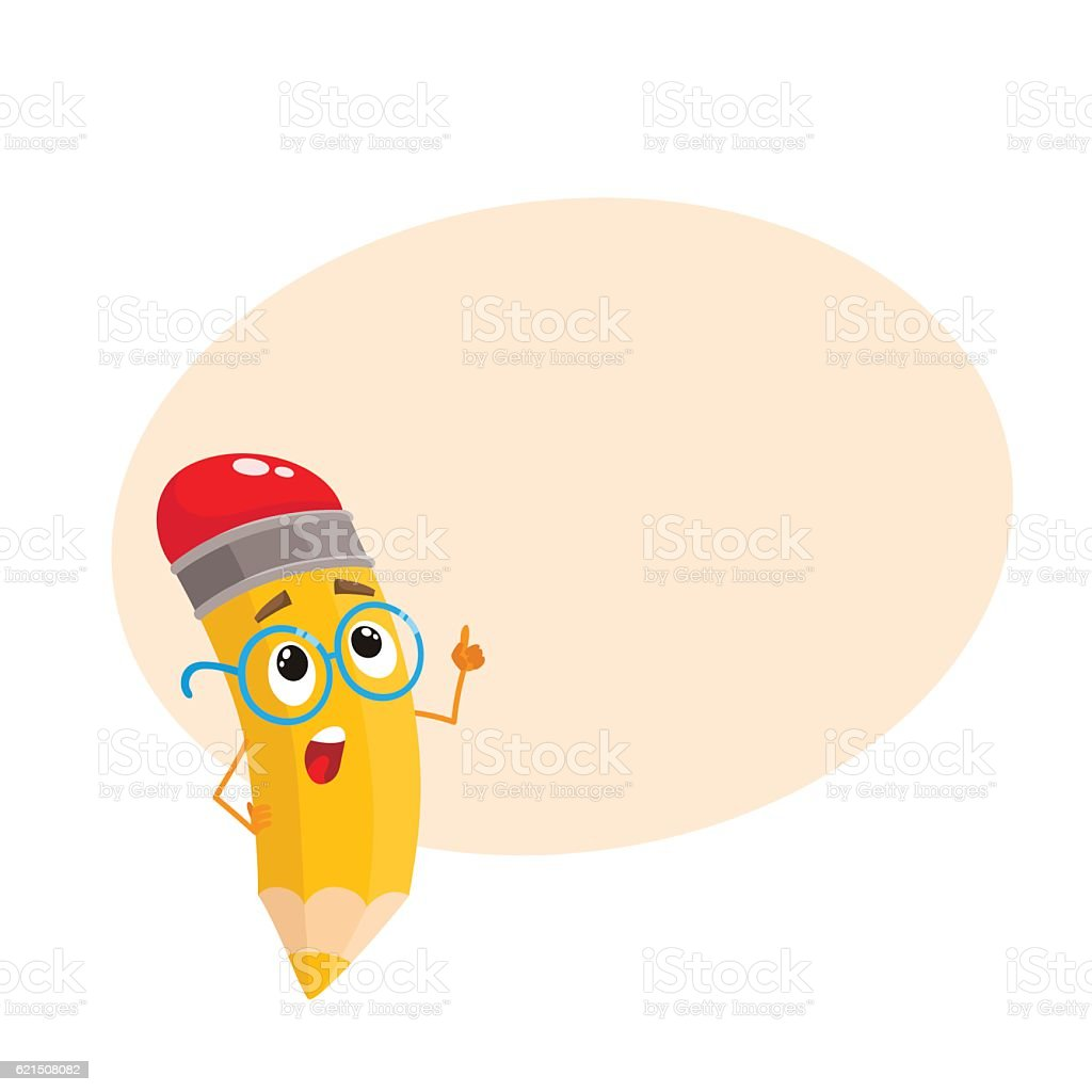 Yellow cartoon pencil in nerdy glasses telling something clever yellow cartoon pencil in nerdy glasses telling something clever - immagini vettoriali stock e altre immagini di allegro royalty-free