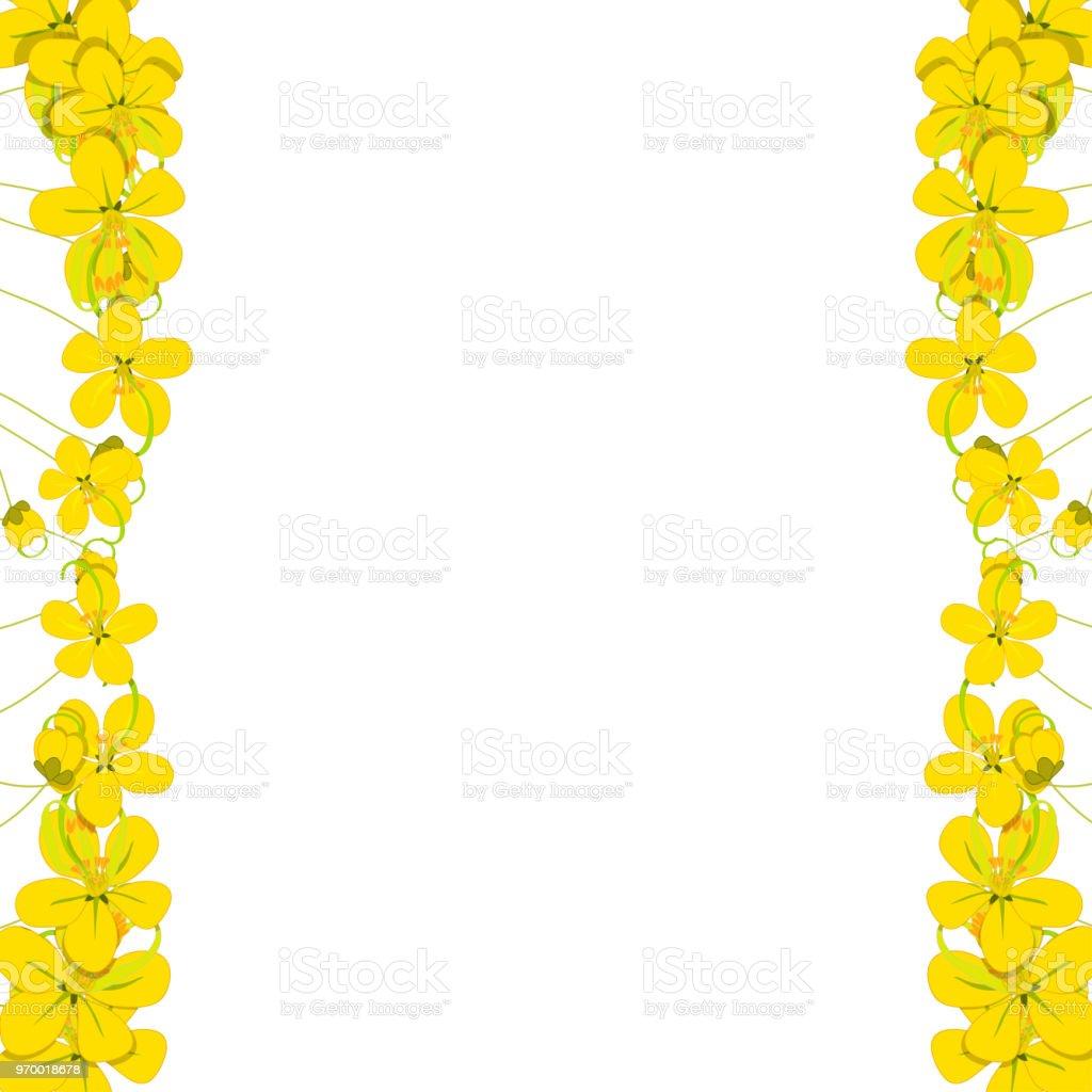 Yellow Cassia Fistula Golden Shower Flower Border Stock Vector Art