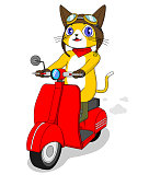 yellow cat character riding red scooter