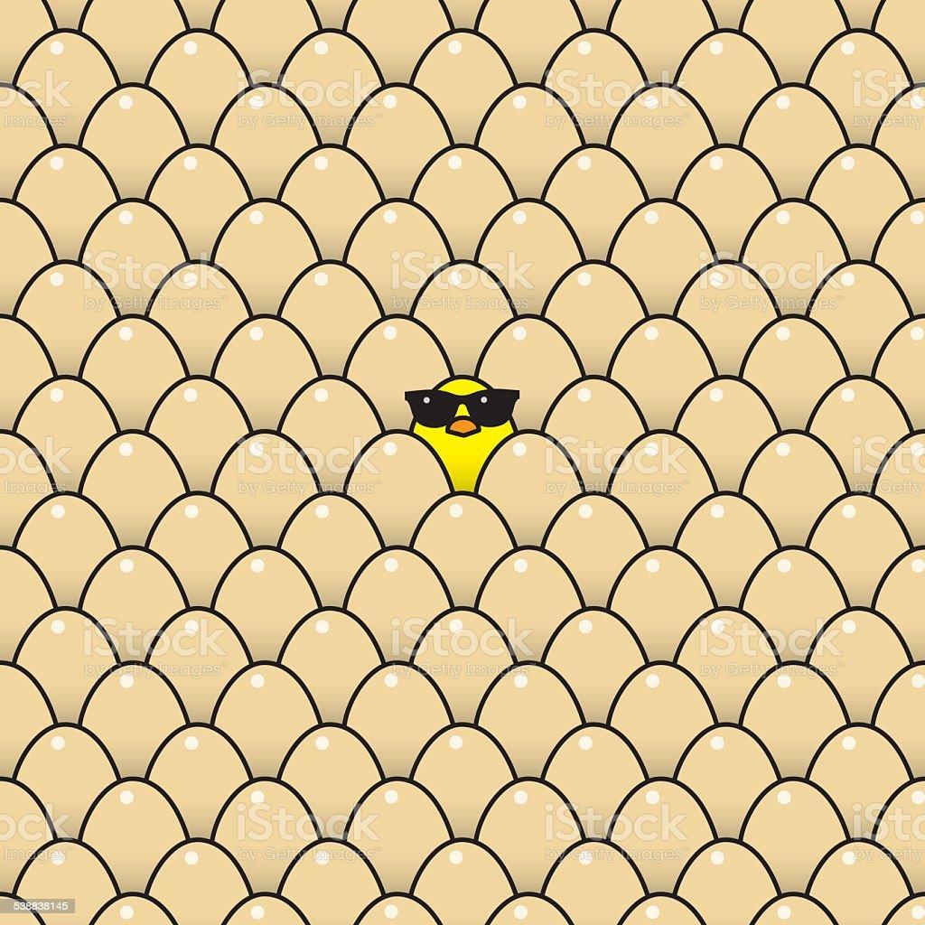 Yellow Chick in Sunglasses amongst Brown Eggs vector art illustration