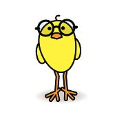 Yellow Chick Wearing Round Black Spectacles Staring forward