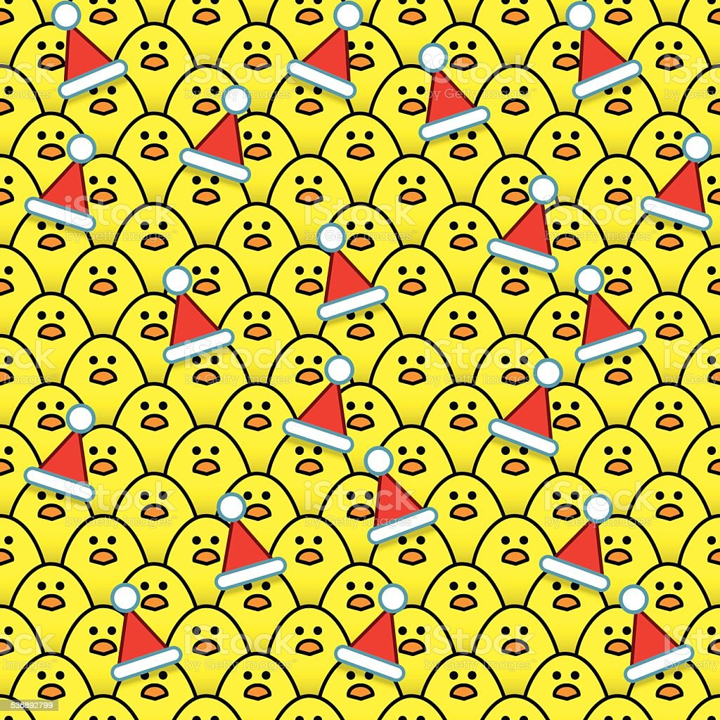 Yellow Chicks wearing Santa Hats surrounded by other Chicks vector art illustration