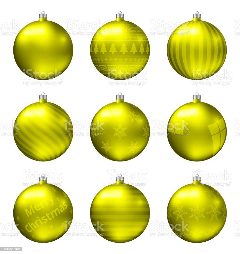 Christbaumkugeln Gelb.Gelbe Weihnachtskugeln Isoliert Auf Weißem Hintergrund
