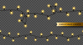 Yellow Christmas lights isolated on transparent background. Vector illustration. Glowing bulbs for Xmas and New Year Design. Seamless garlands for holiday party