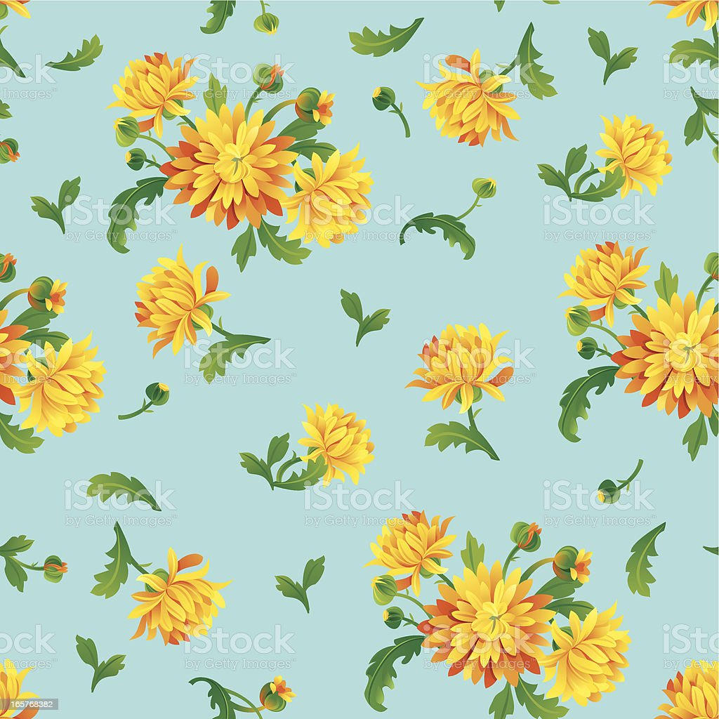 Yellow Chrysanthemums (Pattern) royalty-free stock vector art