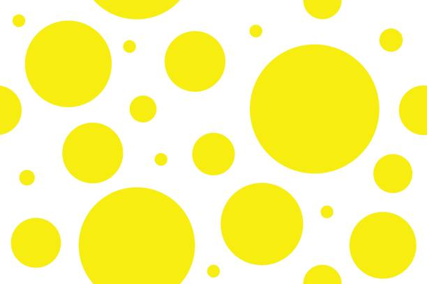 Yellow circles Seamless pattern of yellow circles of different sizes. Vector abstract background polka dot stock illustrations