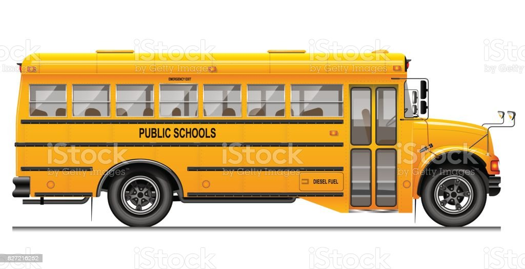 Autobus Scolaire Classique Jaune Vue De Côté éducation