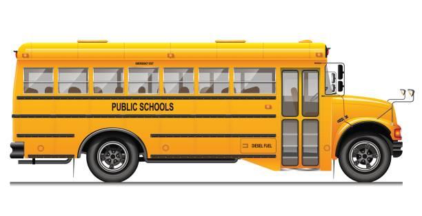 ilustrações, clipart, desenhos animados e ícones de ônibus amarelo de escola clássico. vista lateral. educação americana. imagem tridimensional, com detalhes cuidadosamente rastreados. - ônibus escolares