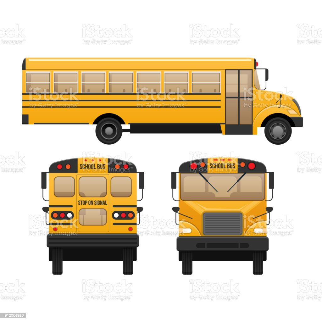 Yellow classic school children's bus. Modern education. Traveling with children vector art illustration