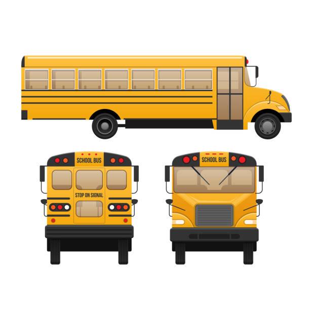 ilustrações, clipart, desenhos animados e ícones de amarelo autocarro clássico escola infantil. educação moderna. viajando com crianças - ônibus escolares