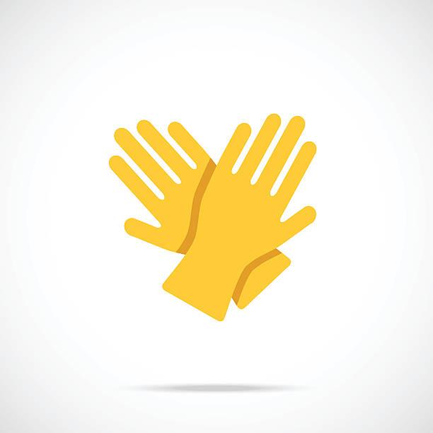 gelbe reinigung handschuhe flaches symbol. vektor-illustration - schutzhandschuhe stock-grafiken, -clipart, -cartoons und -symbole