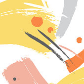 Yellow color brush orange  stroke illustration.  Vector grey grunge abstract elements. Creative ink elements. Bright dynamic minimal art. Splatter paper backdrop