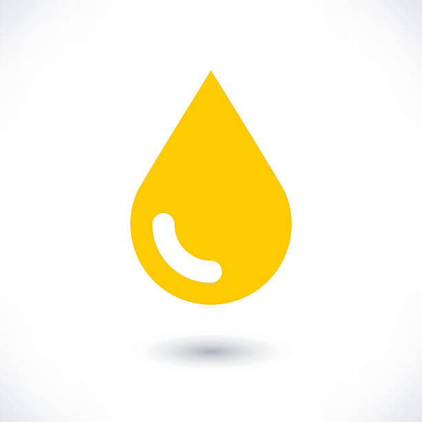 yellow color drop icon with gray shadow on white - honey drip stock illustrations, clip art, cartoons, & icons