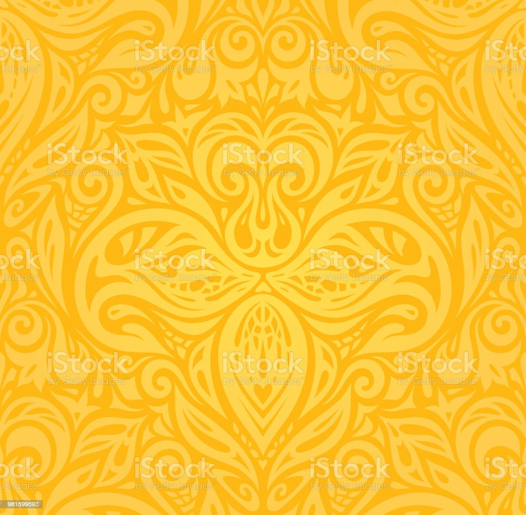 Yellow Colorful Floral Wallpaper Background Pattern Stock Vector Art ...