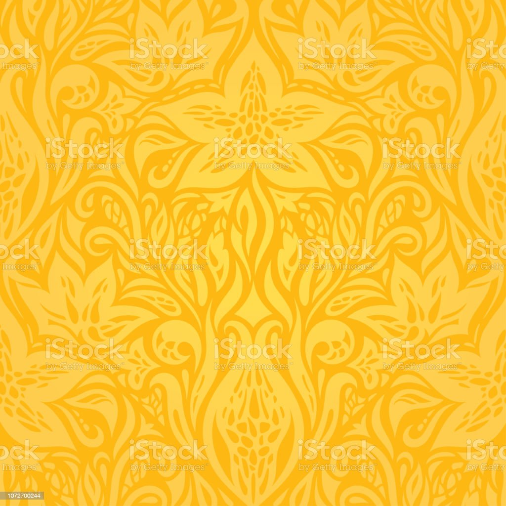Yellow Colorful Floral Wallpaper Background Stock Illustration
