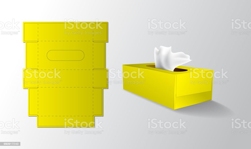 Download Yellow Colour Tissue Box Mock Up Packaging Keyline Stock ...