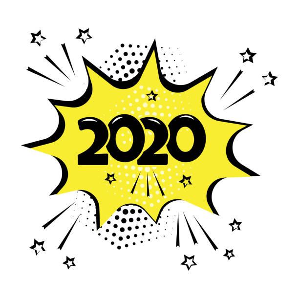 illustrations, cliparts, dessins animés et icônes de bulle comique jaune avec le mot 2020 d'isolement sur le fond blanc. effets sonores comiques, étoiles et demi-ton dans le style pop art. vecteur - effets sonores