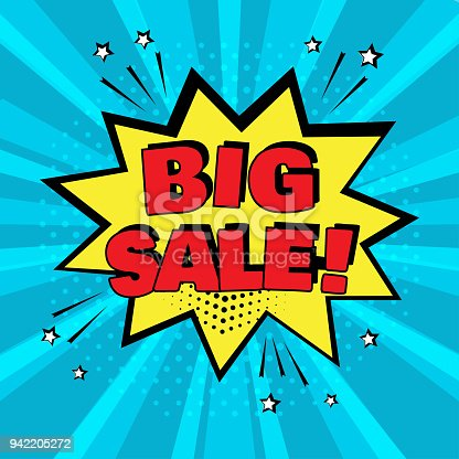 istock Yellow comic bubble with BIG SALE word on blue background. Comic sound effects in pop art style. Vector illustration. 942205272