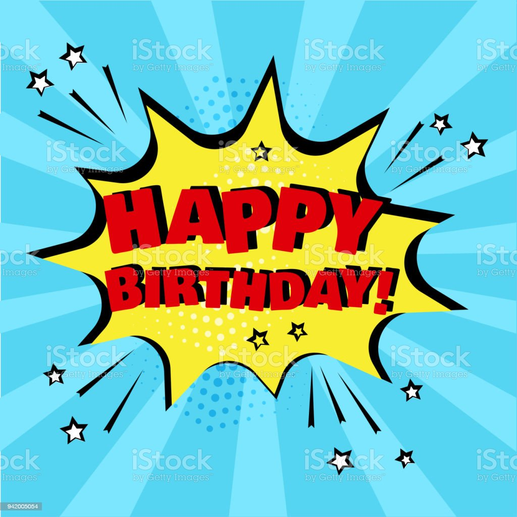 yellow comic bubble with happy birthday word on blue background comic sound effects in pop