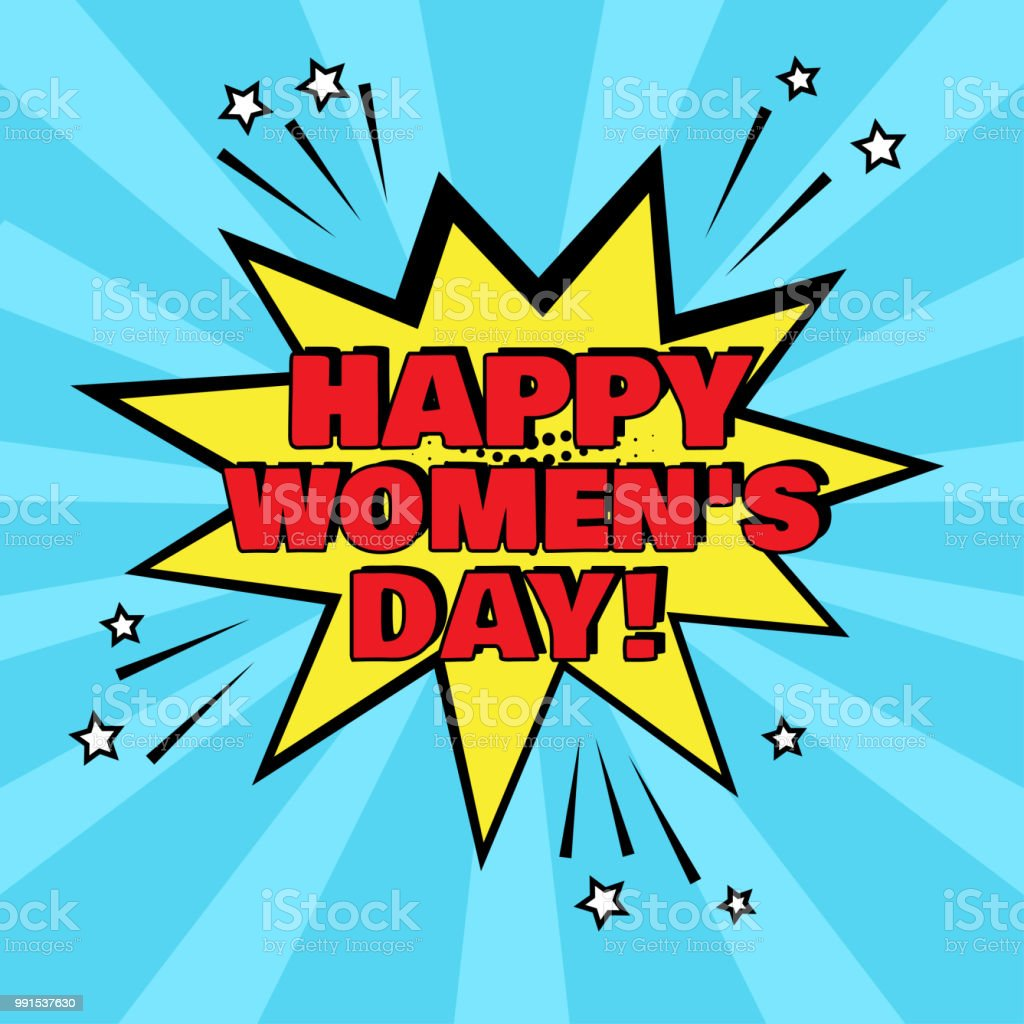 Sarı çizgi Roman Kabarcık Mutlu Kadın Gün Kelime üzerinde Mavi Arka